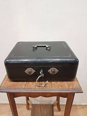 OLD ANTIQUE VINTAGE METAL SAFE CASH BOX SAFES WITH KEY 1940s