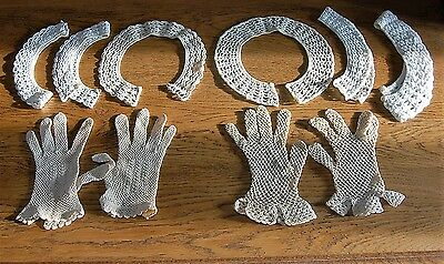 LOT 6 Collars 2 Prs Gloves Small Women Handmade Off White Vintage French Crochet
