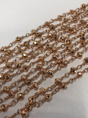 5 Feet Copper Pyrite Faceted  Beaded Chain Copper Wire Plated 3-4mm Wire Wrapped