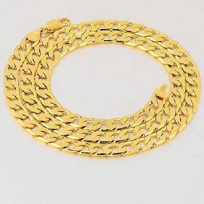 heavy hip hop mens solid 18k gold Plated necklace cuban link chain 24-26 inch