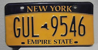 2012 New York  Empire State Gold License Plate Gul 9546 Used