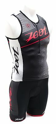 "Zoot Men Tri Team Tank + Tri Team 8"" Shorts Medium Race Day Red Black NEW"