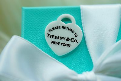 Authentic Tiffany & Co white bone Please return to Tiffany MEDIUM charm