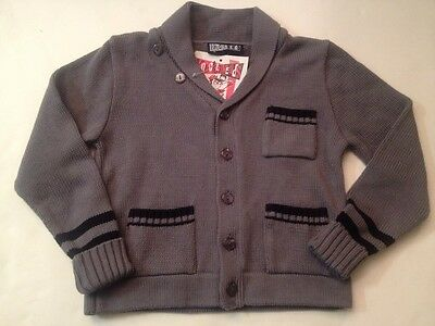 NEW Boys Knuckleheads Sweater 2T Cardigan Upscale NWT Gray Navy Little Threads