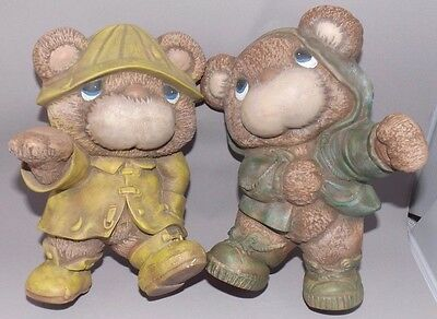 Gare Inc Ceramic Bears - Set of 2 - Wall Mount - Hand Painted