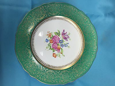 Steubenville Green Rim Dinner Plates ~ Two