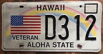 Hawaii Veteran Rainbow Retro Authentic Used Collectible License Plate #D312 fr