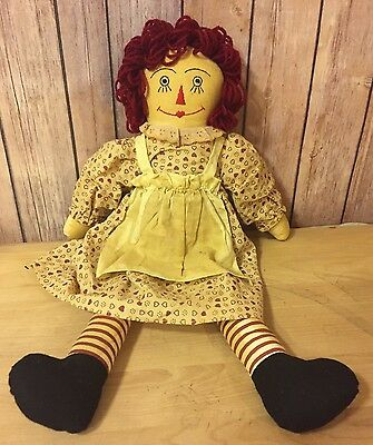 """Vintage Raggedy Ann Doll - Tea Stained, 19"""" Tall, Hand Sewn, Grain Filled"""
