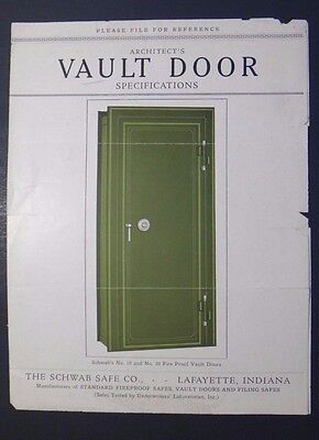 Vintage 1920's The Schwab Safe Co Architect's Vault Door Specifications