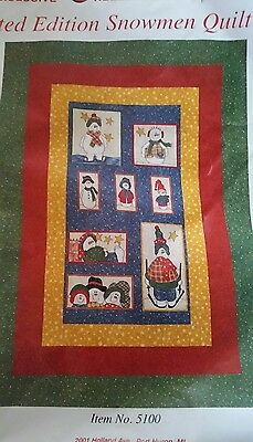 """Patchwork Quilting Kit Mary Maxim Limited edition snowmen quilt top 46"""" x 66"""""""
