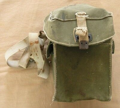 WWII COTTON CANVAS GAS MASK BAG ISSUED TO Cdr. C.J. GRENFELL WITH WEBBING HANDLE