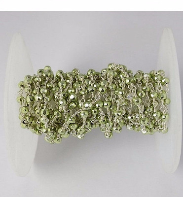 5 Feet Green Pyrite Faceted Rondelle 3-4mm 925 Silver Plated Rosary Beads Chain