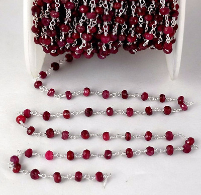 5 Feet Dyed Ruby Rosary Beaded Chain 925 Silver Plated 3.5-4mm Gemstone Beads