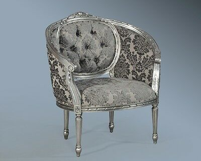 Large Mahogany Antique Silver Leaf Grey French Ornate Boudior Chair Loveseat