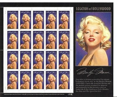 US stamps sheet: MARILYN MONROE, Legend of Hollywood, Sc # 2967 MNH VF, 20 x 32c