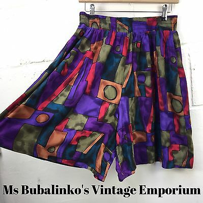 Vintage 90s Abstract Crazy Pattern High Waist Culottes Shorts Size 14 16