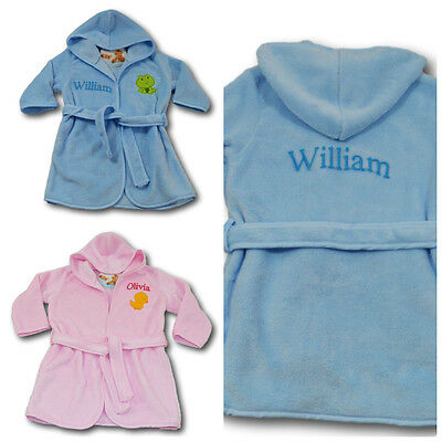 PERSONALISED EMBROIDERED BABY BATH ROBE KIDS BATHROBE   Dressing Gown On  GIFT