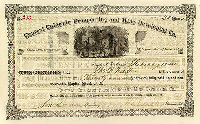Central Colorado Prospecting and Mine Developing Company Stock Cert (p#1856)