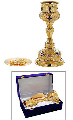 Church Vine Chalice paten box 26cm tall high quality polished brass food safe