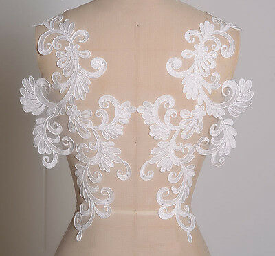 Bridal Lace Applique Off White Floral Applique Motif for Wedding Dress 1 Pair