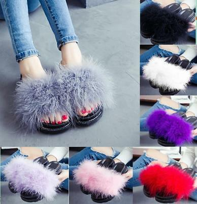 Womens Fluffy Feather Fur Slide Sandal Mules Slipper Shoe Open Toe Low Flat Heel