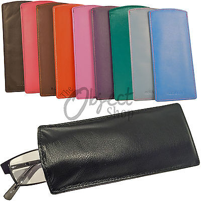 Mala Leather Glasses Sleeve Case Soft Specs Reading Slim Cover Lined Colours