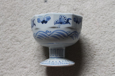 "Antique Chinese Porcelain footed/stem bowl dec. w/ butterflies cranes -6""D x 5""H"