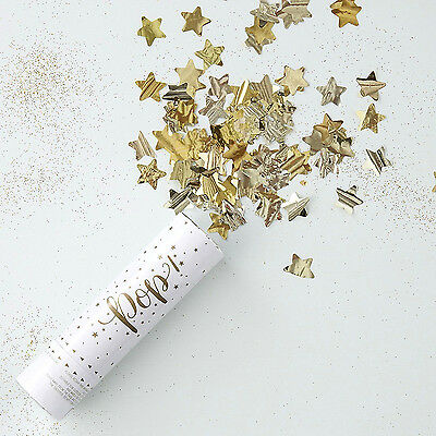 Luxury Metallic Star Gold Foiled Compressed AIR CONFETTI CANNON POPPER 15cm High