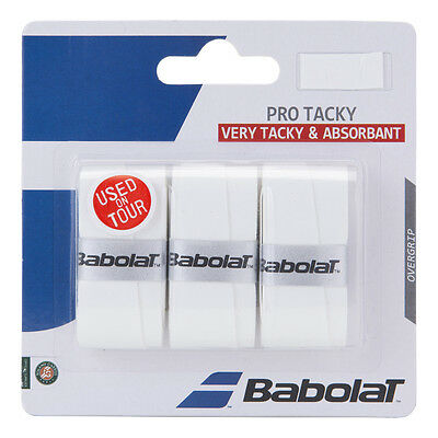 3 Babolat Pro Tacky Grips/Overgrips - White - Free P&P