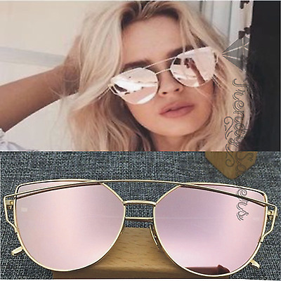 Women's Metal Flat Lens Cat Eye Vintage Fashion Mirrored Oversized Sunglasses