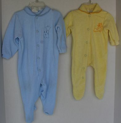 VINTAGE 1970s Set of 2 CARTER's Sleeper Pajamas Yellow-Small, Blue-Medium