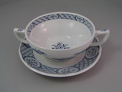Furnivals Old Chelsea Two Handled Soup Coup And Saucer.