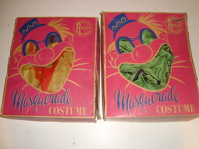 Lot of 2 VTG ATQ 50's Halco Halloween Masquerade Costumes In Boxes Mouse & Frog