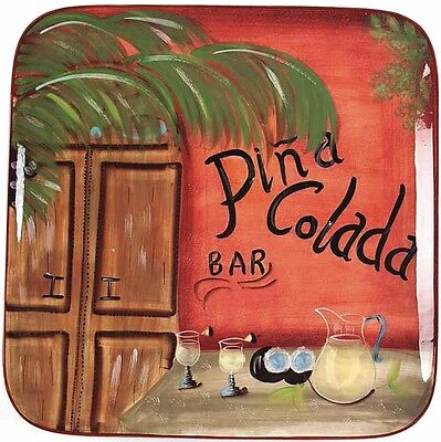 NEW LARGE Display Certified Int'l Key West Pina Colada Serving Platter Tray Dish