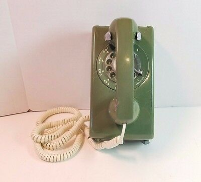 Vtg Bell System Western Electric Green Telephone Rotary Dial Wall Phone 554 70s