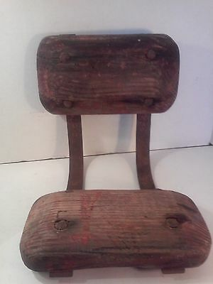 """Rare Oak Childs Seat 9"""" Tall Antique Horse Drawn Buggy Buckboard Carriage Wagon"""