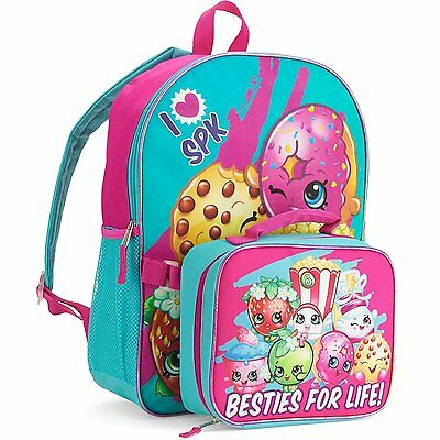 """Shopkins Toys 16"""" Kids Backpack with Insulated Lunch Bag"""