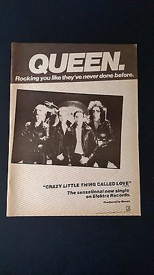 """Queen """"crazy Little Thing Called Love"""" '79, Rare Original Print Promo Poster Ad"""