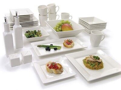 Nova 31Pc Square Dinner Set Dinnerware Plate Bowl Side Dish Salt Pepper Platter