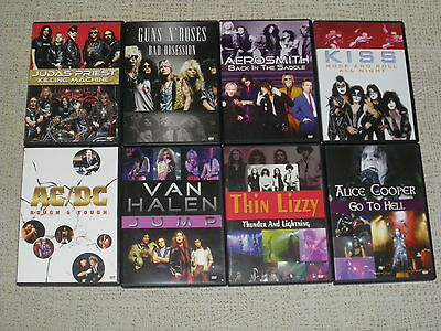 Lote 8 Dvd: Judas Priest, Ac/dc, Kiss, Guns N' Roses, Aerosmith, Alice Cooper...