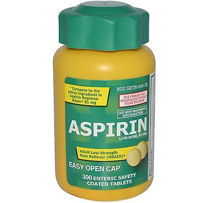 Aspirin, Low Dose, 81 mg, 300 Enteric Coated Tablets - Life Extension