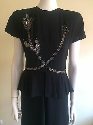 Orginal Vintage 40s Crepe Beaded Swing Dress  With Peplum, Cocktail Pinup