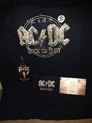 Ac/dc Rock Or Bust Nyc  Webster Hall 11/18/14 Package Xl T-Shirt Pass  Postcard