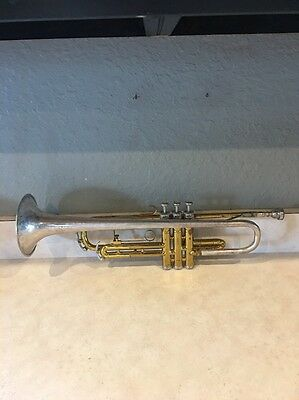 King 600 Tempo Trumpet Silver And Gold Plated with Padded Carrying Case