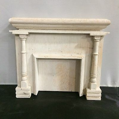 Vintage Miniature Dollhouse  Fireplace Wood Primered Fireplace Accessories 1:12
