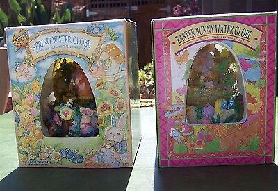 """Easter Egg Musical Water Globes Snow Globe Both Play """"Easter Parade"""" Music Box"""