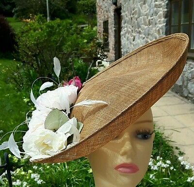 Designer Hat in Biscuit adorned with Pink and Vanilla Silk Flowers