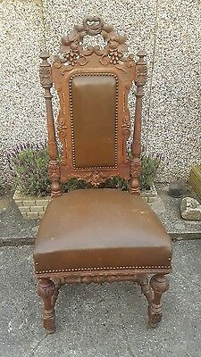 Antique Victorian Ornate Carved Oak Chair. Gothic style