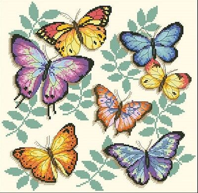 The Colourful Butterflies. 14CT counted cross stitch kit. Craft brand new.