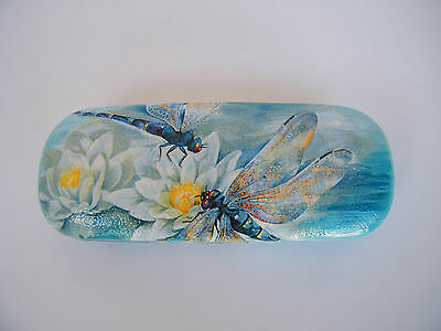 Hard eyeglasses case with dragon fly and water lily, blue glasses case,readers